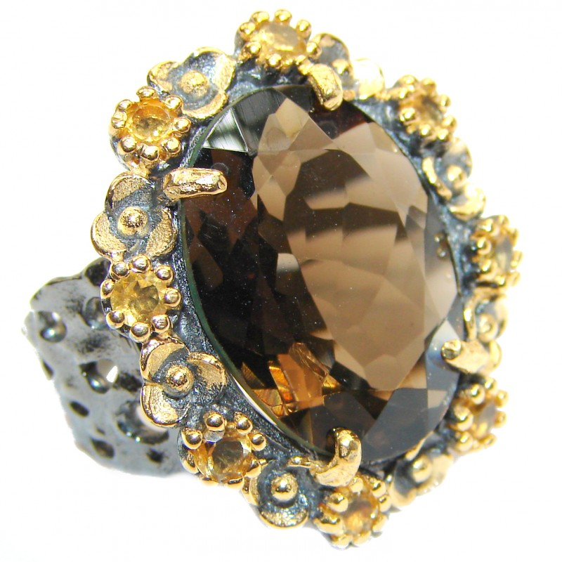 Authentic Smoky Topaz 18K Gold over .925 Sterling Silver handcrafted ring; s. 8