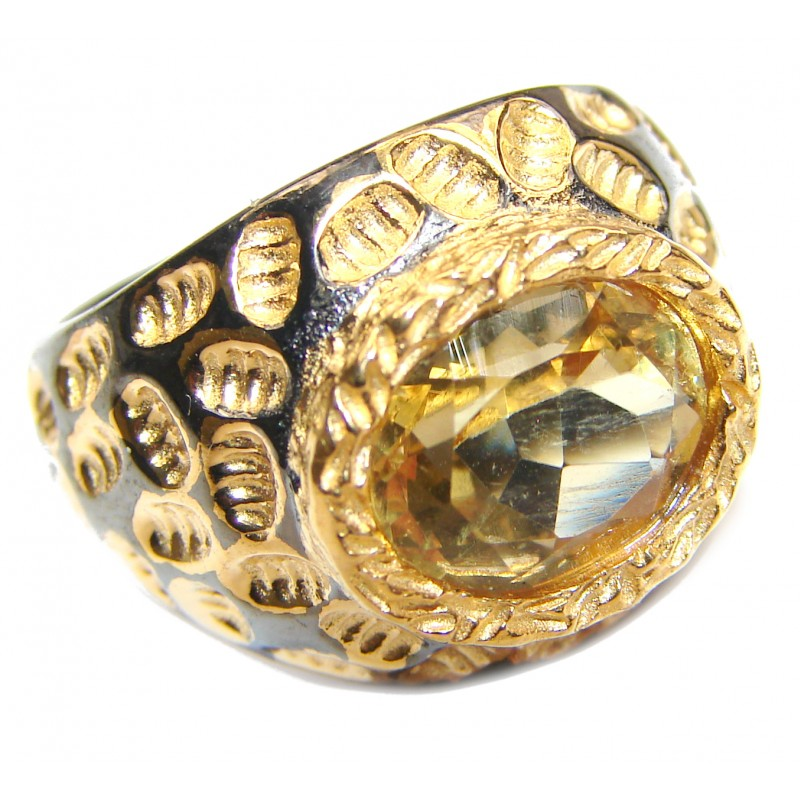 Vintage Style 12ct Natural Citrine 18ct Gold over .925 Sterling Silver handcrafted Ring s. 6