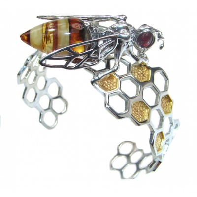 Real Masterpiece Honey Bee Polish Amber Two Tones .925 Sterling Silver HANDCRAFTED Bracelet / Cuff