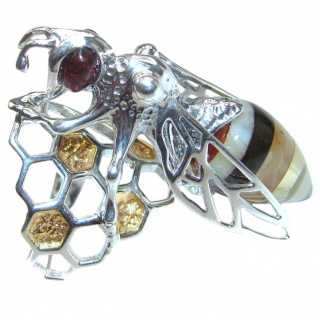 Masterpiece Honey Bee Baltic Polish Amber .925 Sterling Silver handcrafted ring; s 7 adjustable