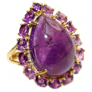 Large Genuine Amethyst 18K Gold over .925 Sterling Silver handcrafted Statement Ring size 8 1/4