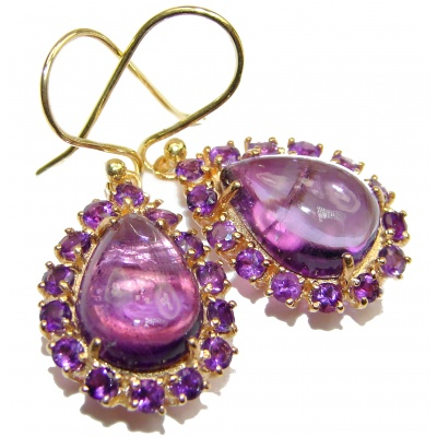 Large Authentic Amethyst 18K Gold over .925 Sterling Silver handmade earrings