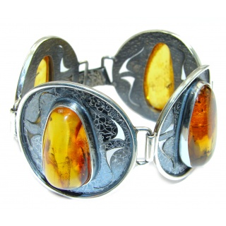 Large Beautiful Honey Baltic Polish Amber oxidized .925 Sterling Silver handcrafted Bracelet