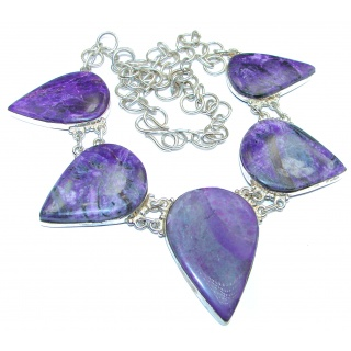 Great Quality Siberian Purple Charoite .925 Sterling Silver handmade Necklace