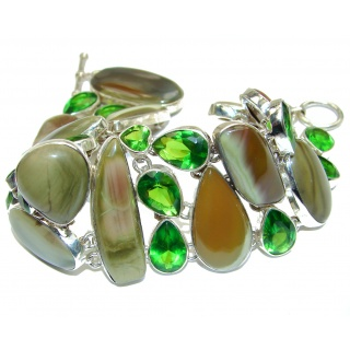 Large Garden Love Green Quartz Imperial Jasper .925 Sterling Silver Bracelet