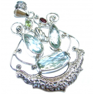 Huge Green Amethyst .925 Sterling Silver handcrafted pendant