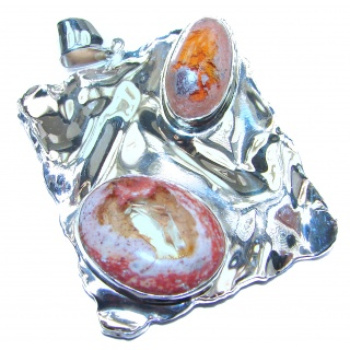 One of the kind genuine Mexican Opal .925 hammered Sterling Silver Pendant