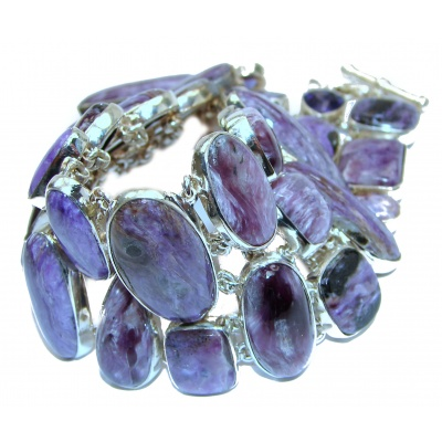 Large Lavender Dreams Authentic Siberian Charoite .925 Sterling Silver handmade Bracelet