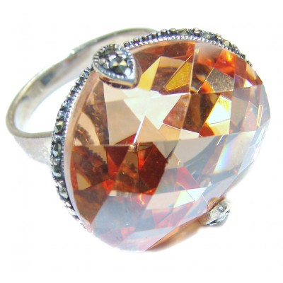 Posh Golden Cubic Zirconia .925 Sterling Silver handmade Ring s. 6