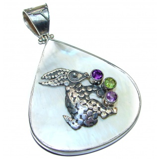 Rabbit Huge Great Blister Pearl .925 Sterling Silver handcrafted pendant
