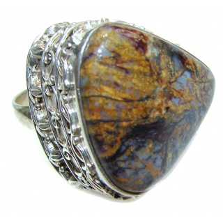 Huge Silky Golden Pietersite .925 Sterling Silver handmade Ring size 9