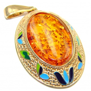 Vitage Style Natural Baltic Amber 18K Gold over .925 Sterling Silver handmade Pendant