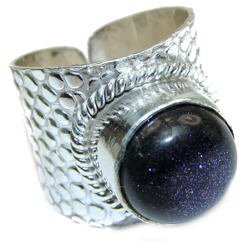 Natural Blue Sun Sitara .925 Sterling Silver Ring s. 7 adjustable