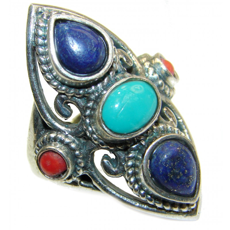 Natural Fossilized Coral Turquoise .925 Sterling Silver handmade ring s. 7 1/2