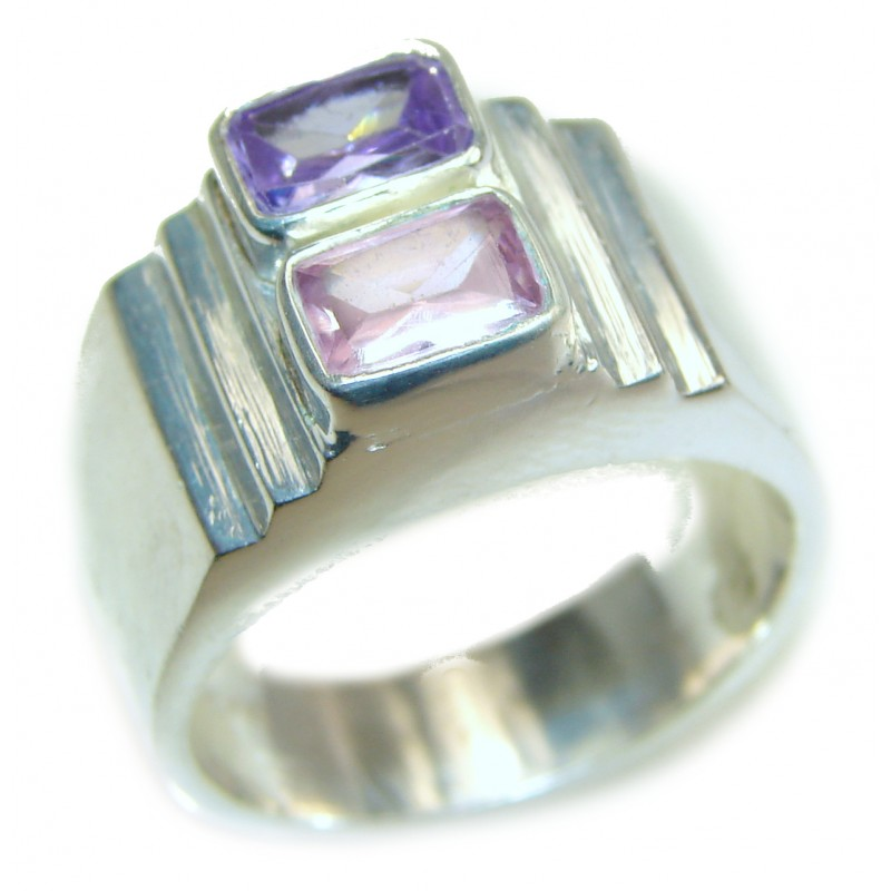 Pink Rainbow Topaz .925 Sterling Silver handcrafted ring size 9