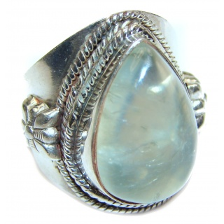 Huge Natural Moss Prehnite .925 Sterling Silver handmade ring s. 6 1/2