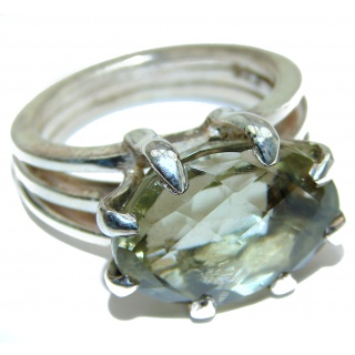 Natural Green Amethyst .925 Sterling Silver handmade Cocktail Ring s. 8
