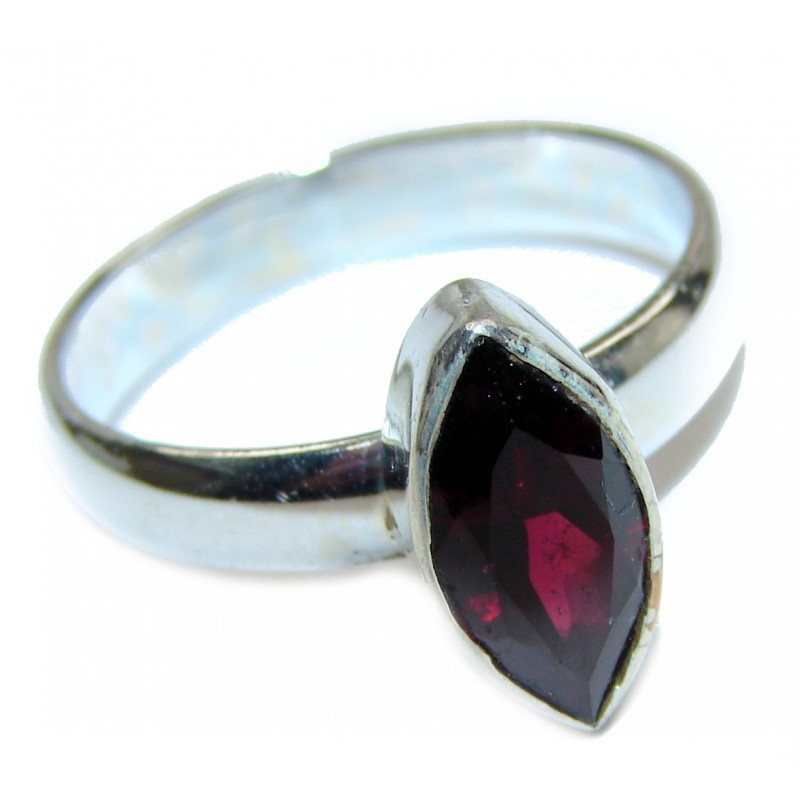 Large Genuine Garnet .925 Sterling Silver handcrafted Statement Ring size 9