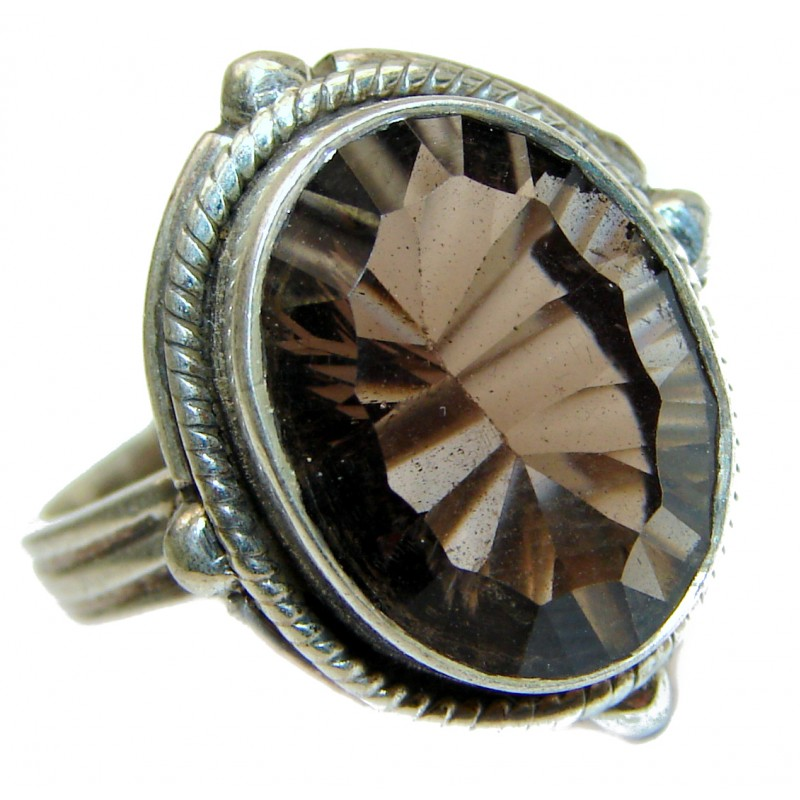 Authentic Smoky Topaz .925 Sterling Silver handcrafted ring; s. 9 1/4