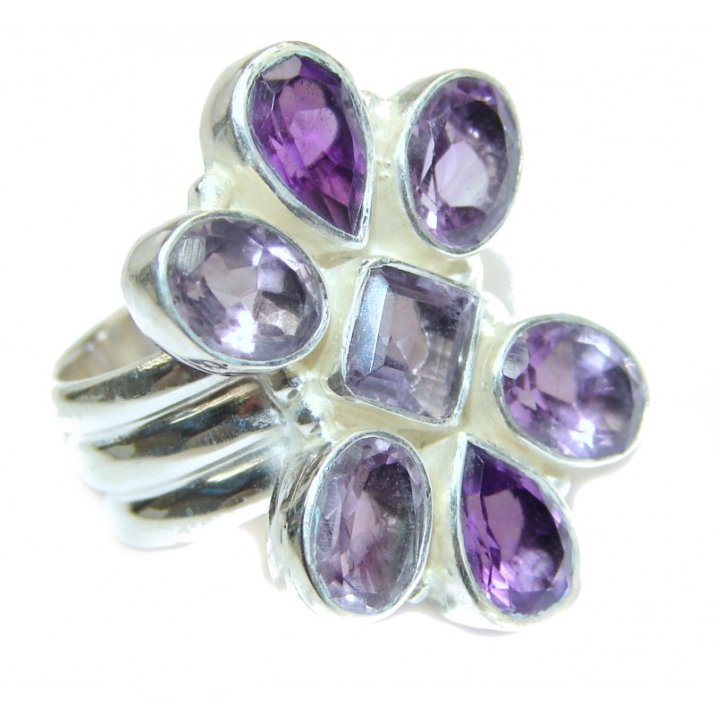 Spectacular genuine Amethyst .925 Sterling Silver handcrafted Ring size 9