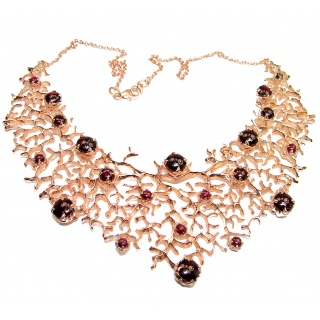 Large Red Reef authentic Garnet 24K Rose Gold over .925 Sterling Silver handcrafted necklace