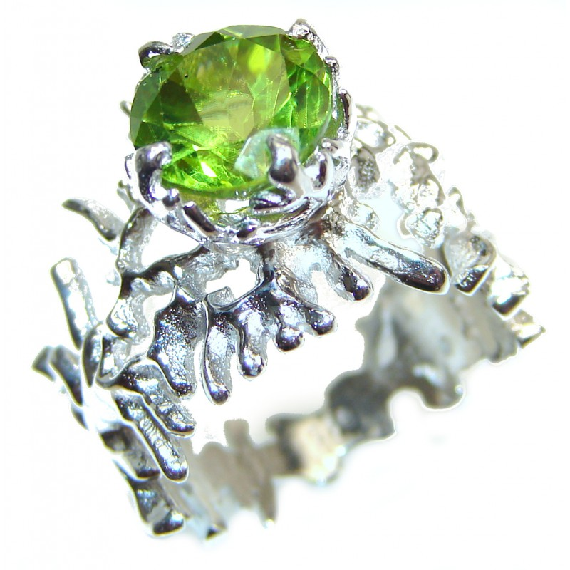 Huge Genuine Peridot .925 Sterling Silver handcrafted Statement Ring size 7