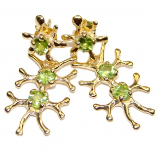 Impressive genuine Peridot 24k Gold over .925 Sterling Silver handmade earrings
