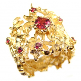 Genuine Garnet 24K Gold .925 Sterling Silver handcrafted Statement Ring size 6