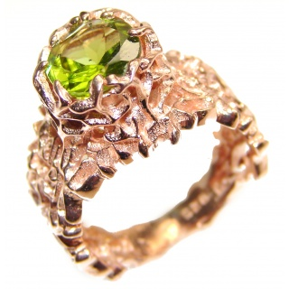 Huge Genuine Peridot 24K Gold over .925 Sterling Silver handcrafted Statement Ring size 8