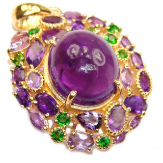 Vintage Design Genuine Amethyst 24K Gold over .925 Sterling Silver handmade Pendant