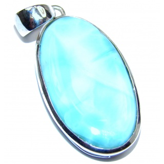 Large Design Authentic Caribbean Larimar .925 Sterling Silver handmade pendant