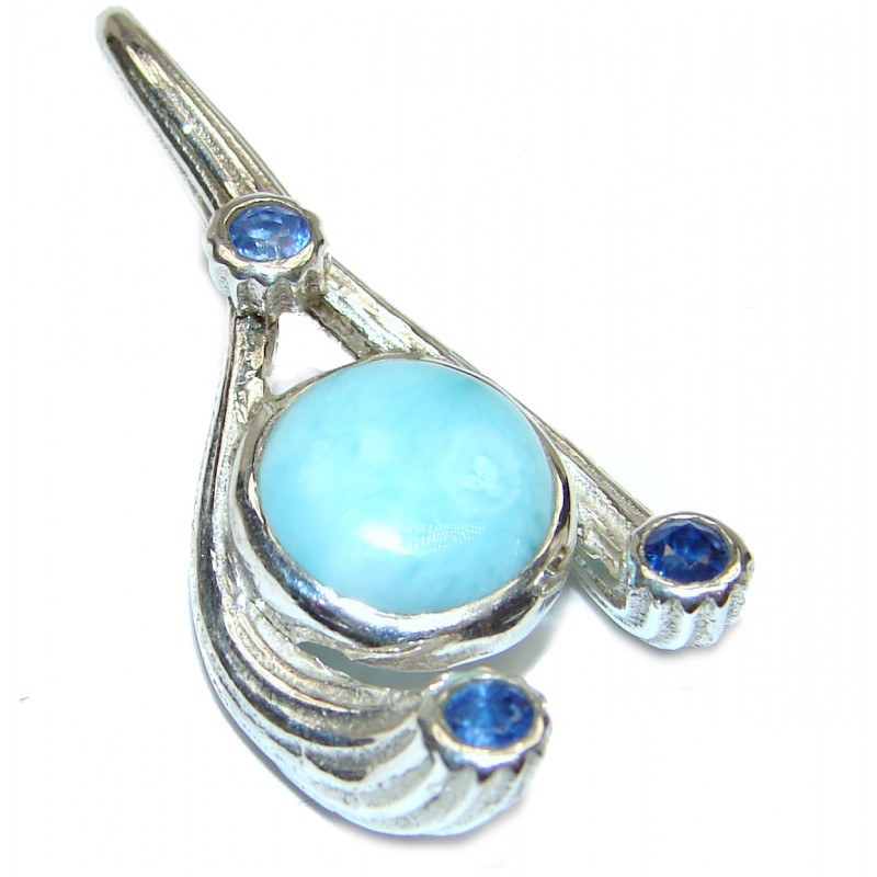 Unique Design Authentic Caribbean Larimar .925 Sterling Silver handmade pendant