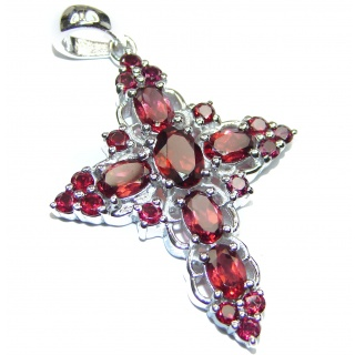 Holy Cross genuine Garnet .925 Sterling Silver handmade pendant