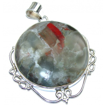 Huge Royal Natural Moss Agate .925 Sterling Silver handmade Pendant