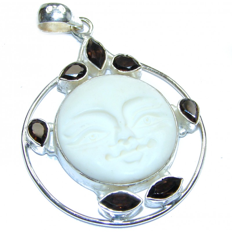 Artisan Design Carved Bone .925 Sterling Silver pendant