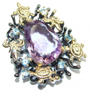 Marine live genuine Amethyst 18K Gold over .925 Sterling Silver handcrafted pendant