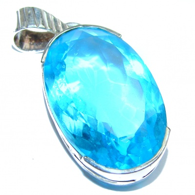 Large Electric Blue Quartz .925 Sterling Silver pendant