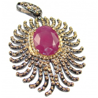 Vintage Design Genuine African Ruby 18K Gold over .925 Sterling Silver handmade Pendant