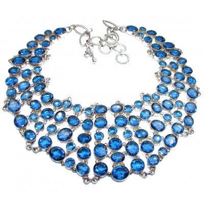 LARGE New Universe Genuine Blue Quartz .925 Sterling Silver handmade necklace