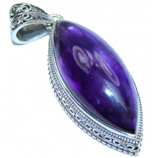 Huge Marquise shape genuine Amethyst .925 Sterling Silver handcrafted pendant