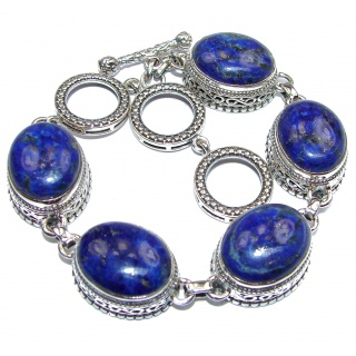 Chic Blue Waves Lapis Lazuli .925 Sterling Silver handcrafted Bracelet