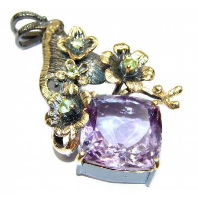 Genuine Amethyst 18K Gold over .925 Sterling Silver handcrafted pendant