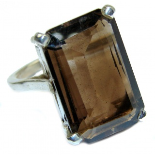 Authentic Smoky Topaz .925 Sterling Silver handcrafted ring; s. 7 3/4