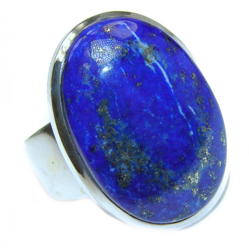 Large Natural Lapis Lazuli .925 Sterling Silver handcrafted ring size 9