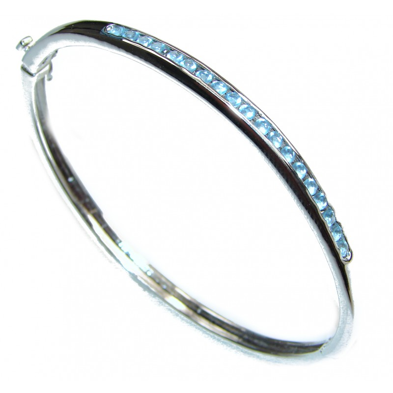 Luxury Swiss Blue Topaz .925 Sterling Silver Bracelet