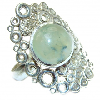 Natural Moss Prehnite .925 Sterling Silver handmade ring s. 7 adjustable