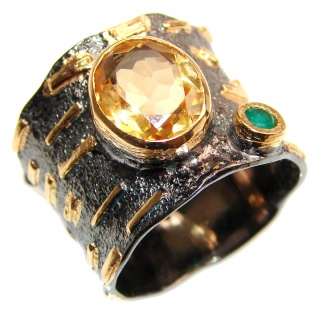 Vintage Style Natural Citrine 18K Gold over .925 Sterling Silver handcrafted Ring s. 8