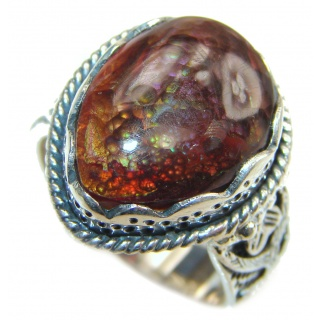 Pure Energy Genuine Fire Agate .925 Sterling Silver handmade ring size 7