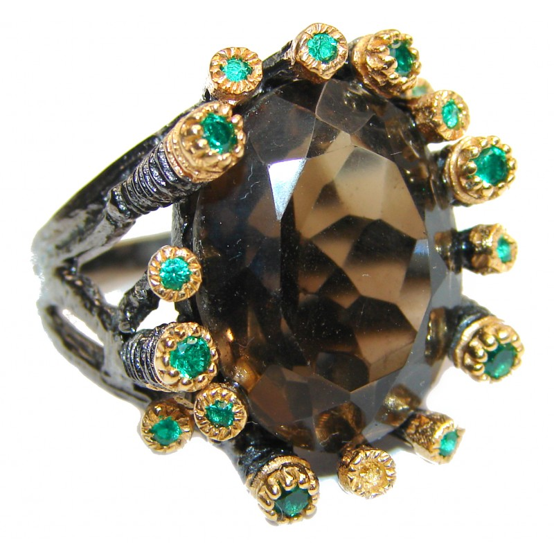 Large Authentic Smoky Topaz 18K Gold over .925 Sterling Silver handcrafted ring; s. 6 1/4