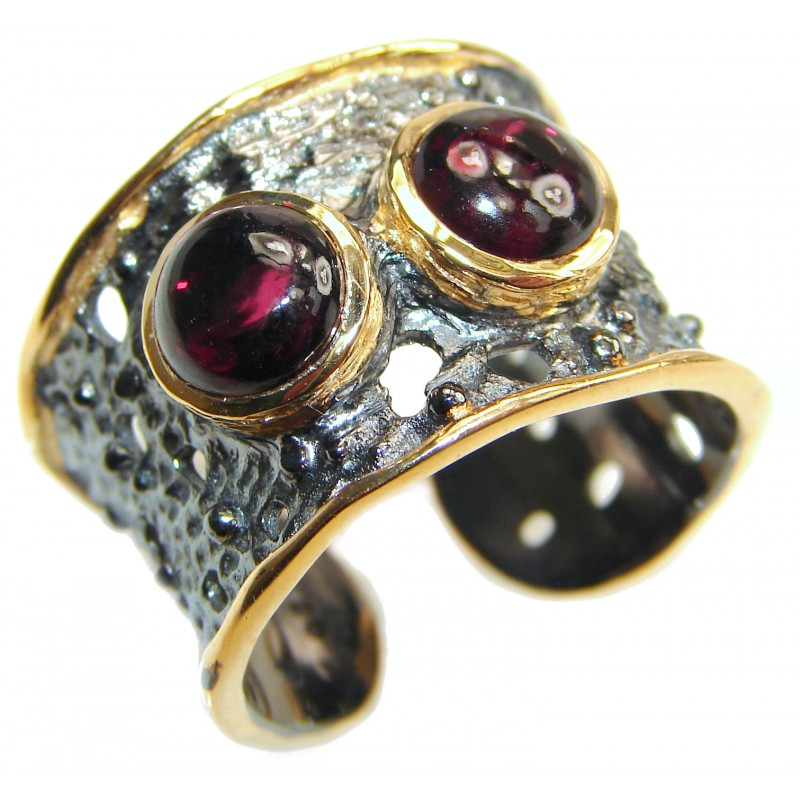 Genuine Garnet 24K Gold .925 Sterling Silver handcrafted Statement Ring size 7 adjustable